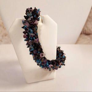 Vintage Genuine Gemstone Beaded Stretch Bracelet